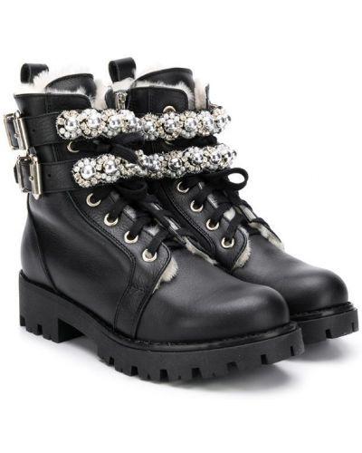 Ботинки черные на молнии Ermanno Scervino Junior