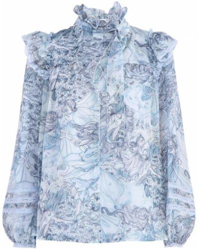 Блузка с длинным рукавом кружевная с воротником-стойкой Marc Jacobs