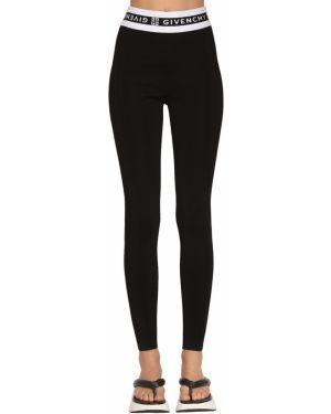 Czarne legginsy z wysokim stanem peep toe Givenchy
