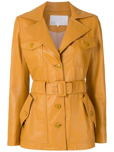 Коричневое кожаное пальто классическое с карманами Nk