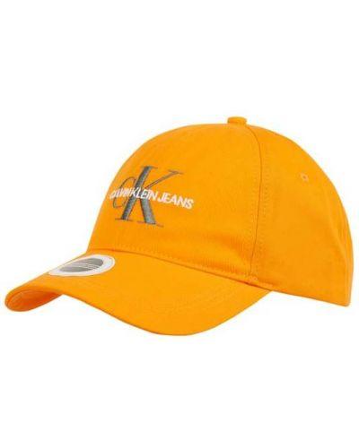 Pomarańczowa czapka z daszkiem bawełniana Calvin Klein Jeans