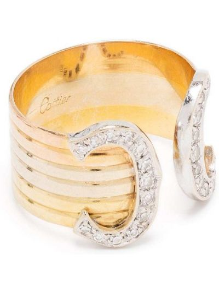 Z rombem pierścień złoto z diamentem okrągły Cartier