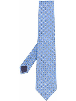 Шелковый синий галстук Salvatore Ferragamo Pre-owned