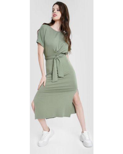 Зеленое платье миди с запахом с короткими рукавами Ostin