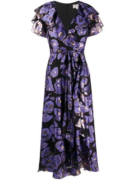 Фиолетовое шелковое платье с воротником с оборками Temperley London