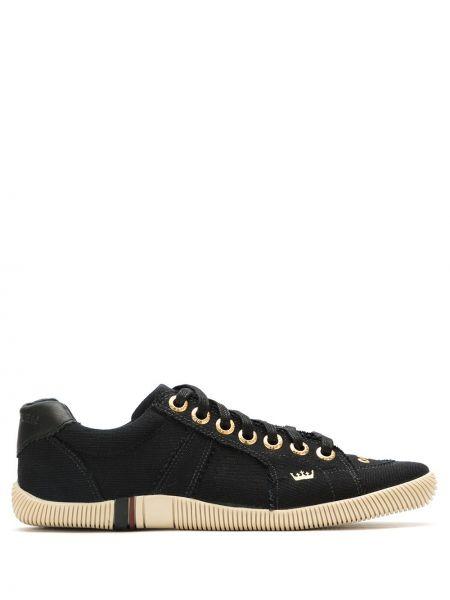 Парусиновые черные кроссовки на шнуровке со вставками Osklen