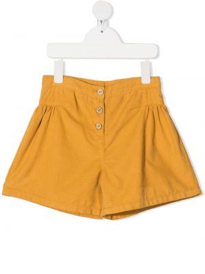 Желтые с завышенной талией шорты вельветовые Knot