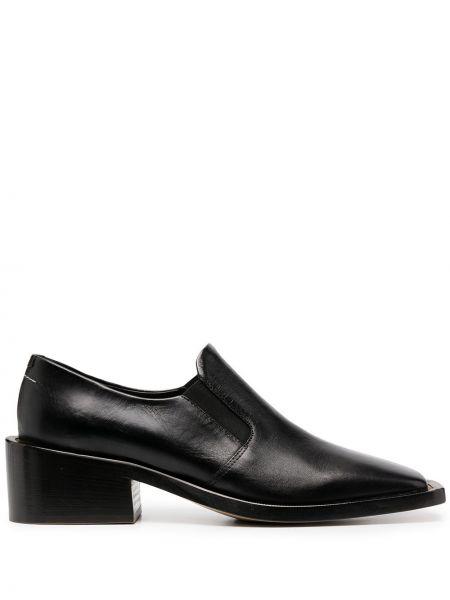 Skórzany czarny loafers na pięcie plac Mm6 Maison Margiela