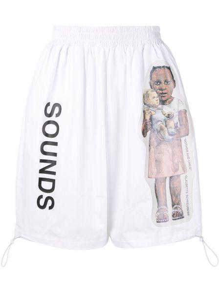 Białe krótkie szorty bawełniane z printem Bmuet(te)