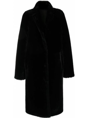 Пальто из овчины - черное Yves Salomon