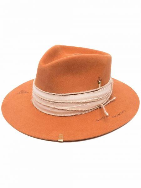 Pomarańczowy kapelusz wełniany z printem Nick Fouquet