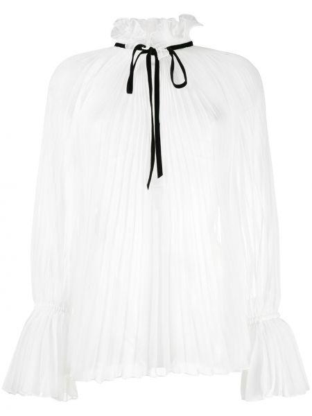 Плиссированная блузка с длинным рукавом с оборками с воротником с завязками Philosophy Di Lorenzo Serafini