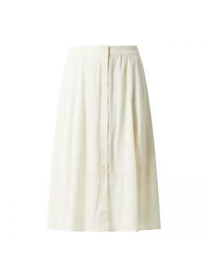 Biała spódnica midi rozkloszowana z wiskozy Rosemunde