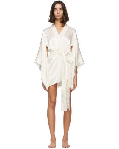 Белый шелковый халат с поясом Kiki De Montparnasse