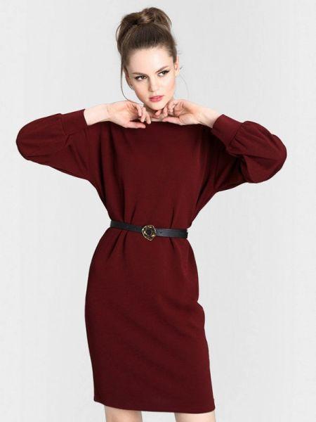 Платье бордовый прямое Ostin