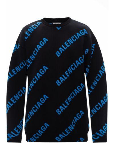 Czarny sweter z dekoltem okrągły Balenciaga
