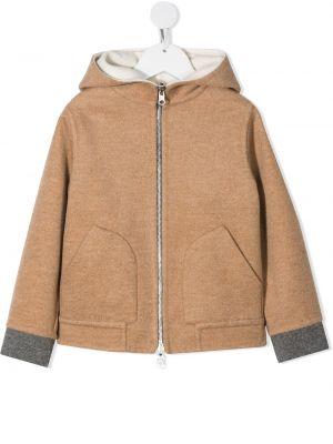 Коричневое кашемировое пальто классическое с капюшоном Brunello Cucinelli Kids