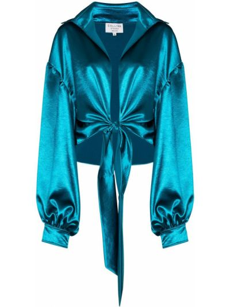 Satyna niebieski bluzka Collina Strada
