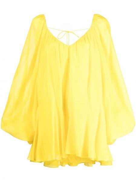 Желтое хлопковое платье мини с вырезом Alice+olivia
