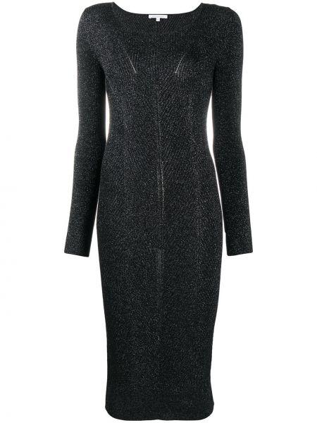 Черное платье миди в рубчик с вырезом из вискозы Patrizia Pepe