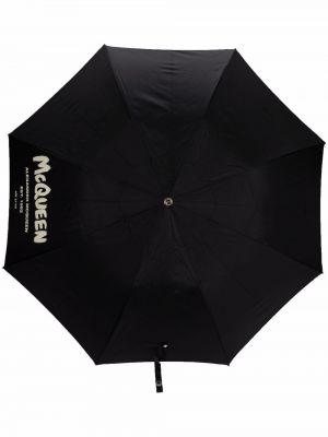 Czarny parasol z printem Alexander Mcqueen