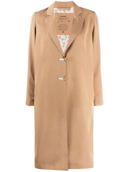 Коричневое пальто классическое на пуговицах с лацканами с карманами Ecoalf