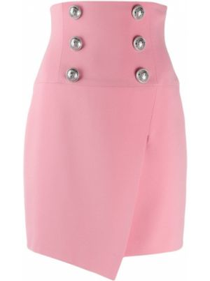 Różowa spódnica z wysokim stanem asymetryczna Balmain