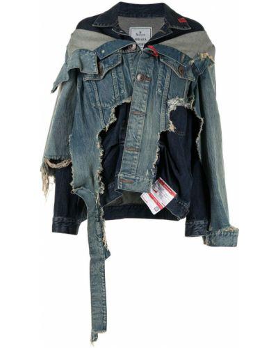 Хлопковая синяя джинсовая куртка со вставками Maison Mihara Yasuhiro