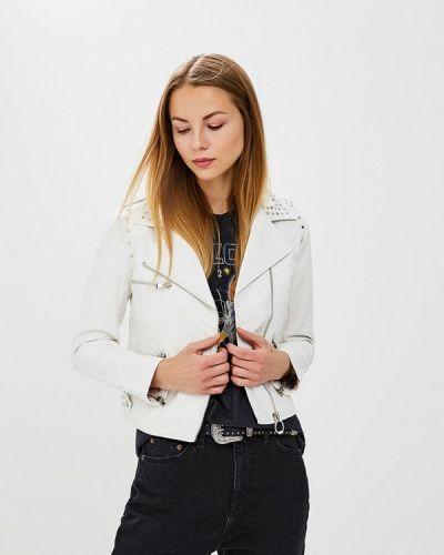 Кожаная куртка весенняя белая Laura Jo