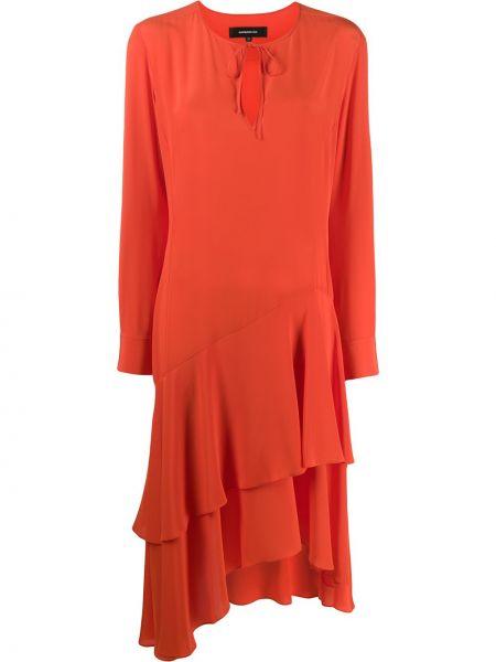 Pomarańczowa sukienka długa z długimi rękawami z jedwabiu Barbara Bui