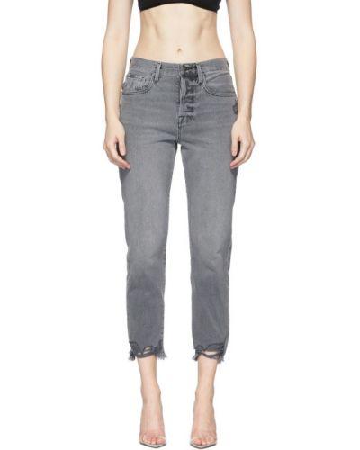 Серебряные прямые джинсы стрейч с манжетами Frame