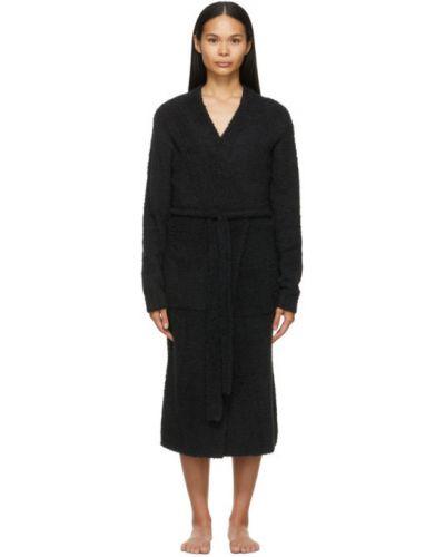 Нейлоновый черный халат с поясом Skims
