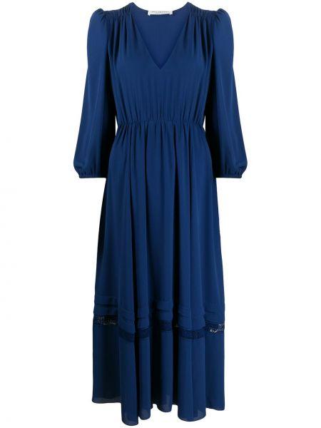 Синее платье миди с вышивкой с V-образным вырезом трапеция Philosophy Di Lorenzo Serafini