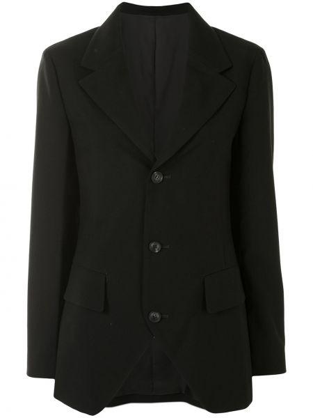 Шерстяной однобортный черный пиджак Yohji Yamamoto