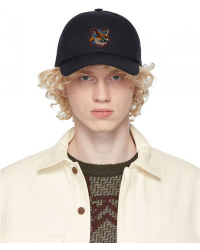 Bawełna bawełna czarny czapka z daszkiem z haftem Maison Kitsune
