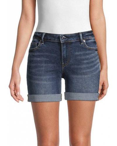 Синие джинсовые шорты с карманами с манжетами True Religion