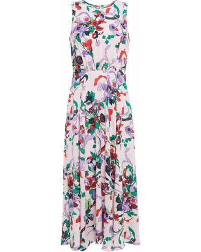 Текстильное розовое платье миди с принтом Kate Spade New York