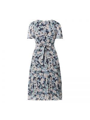 Niebieska sukienka mini rozkloszowana krótki rękaw Esprit Collection