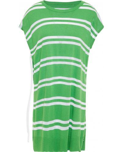 Zielony top w paski z wiskozy Mm6 Maison Margiela