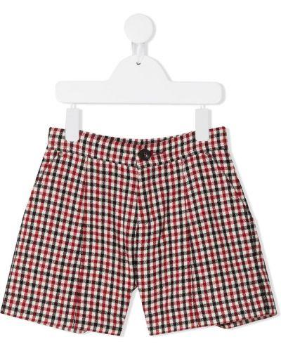 Красные шорты с вышивкой в клетку Chloé Kids