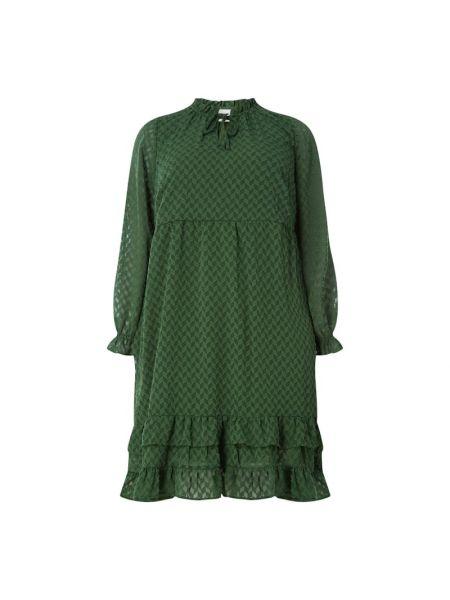 Zielona sukienka rozkloszowana z falbanami Junarose