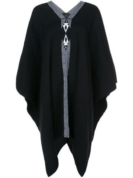 Czarny ponczo wełniany z dekoltem w serek Voz