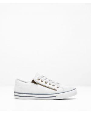 Белые кроссовки на шнуровке Bonprix