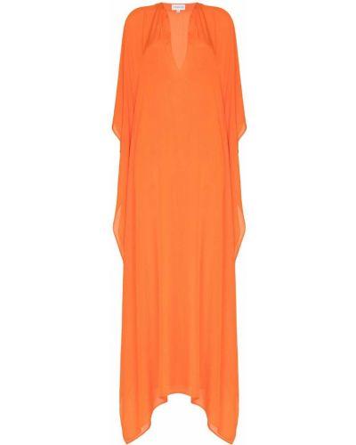 Pomarańczowa sukienka mini rozkloszowana z jedwabiu Alexandra Miro