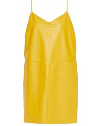 Żółta sukienka skórzana Walter Baker