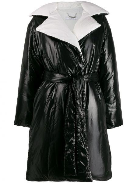 Черное пальто с капюшоном с воротником Givenchy