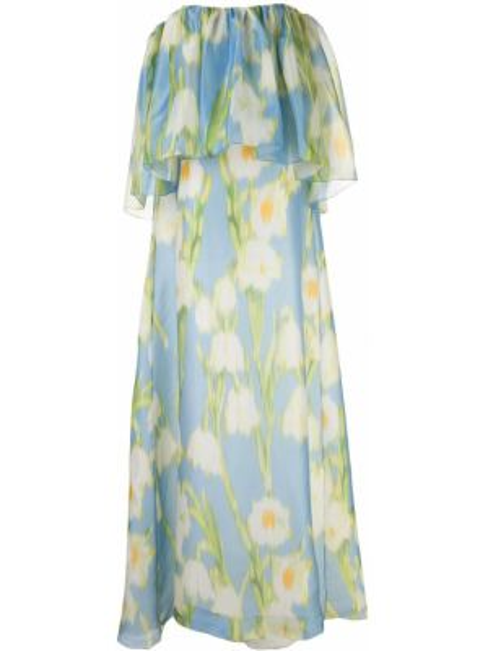 Вечернее платье с цветочным принтом на молнии Carolina Herrera