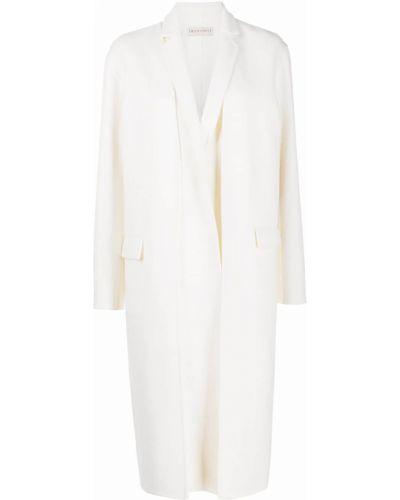 Шерстяное белое длинное пальто двустороннее Emilio Pucci
