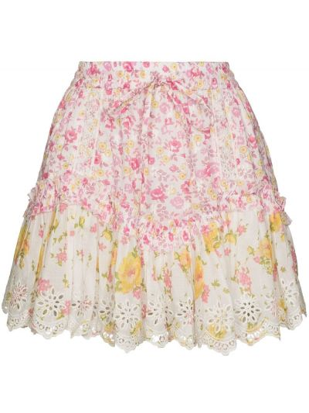 Белая юбка мини с оборками с поясом с завязками Loveshackfancy