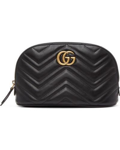 Czarny skórzana torba prążkowany z łatami z prawdziwej skóry Gucci